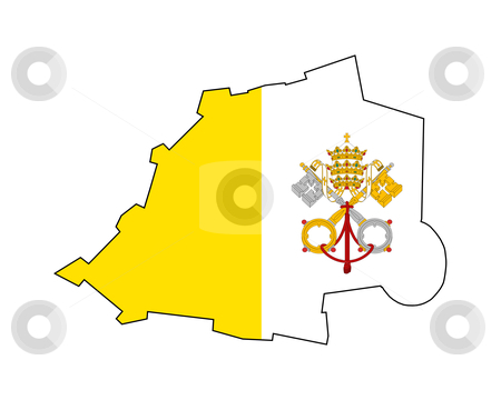 Vatican City State flag on map stock photo, Illustration of the Vatican City State flag on map of country; isolated on white background. by Martin Crowdy