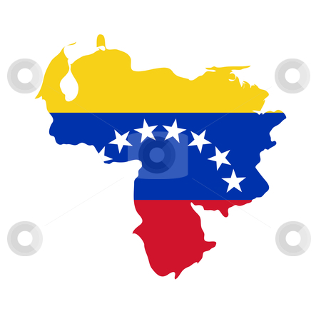Venezuela flag on map stock photo, Illustration of the Venezuela flag on map of country; isolated on white background. by Martin Crowdy