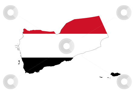 Yemen flag on map stock photo, Illustration of the Yemen flag on map of country; isolated on white background. by Martin Crowdy