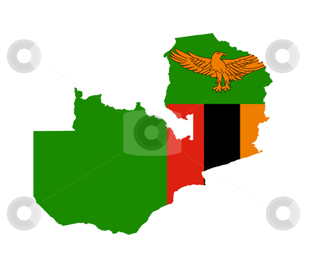 Zambia flag on map stock photo, Illustration of the Zambia flag on map of country; isolated on white background. by Martin Crowdy