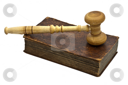Old book and gavel isolated on white background stock photo, Old book and gavel isolated on white background by Ingvar Bjork