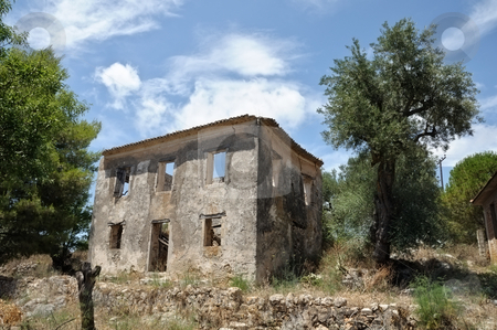 Rural house ruins stock photo, Traditional rural house in Zakynthos abandoned after a severe earthquake in 1953. by sirylok