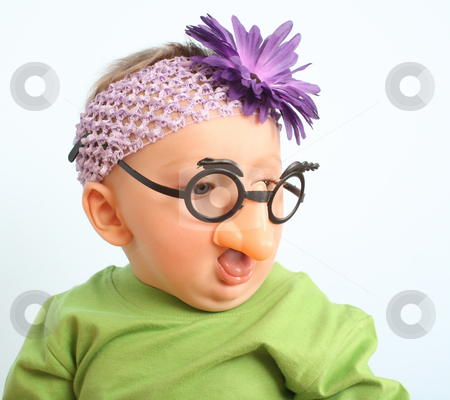 Funny baby stock photo, Funny baby wearing toy glasses and headband by Liznel