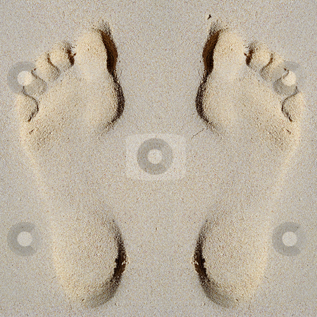 Footprint in sand on beach stock photo, Footprint in sand on beach by Lars Christensen