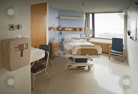 Hospital room stock photo, Clean Empty Hospital Room Ready for One Patient  by Christian Delbert