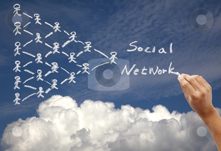 Hand drawing social network concept on the sky background by chalk stock photo, Hand drawing social network concept on the sky background by chalk by tomwang