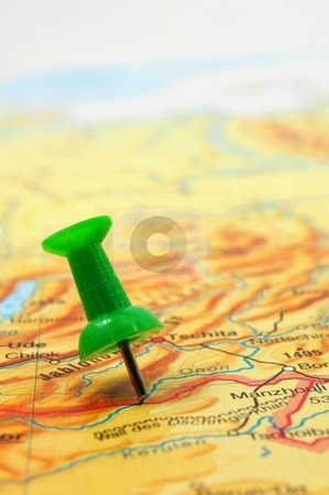 Pin and map stock photo, pin and map with copyspace showing travel concept by Gunnar Pippel