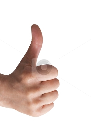 One hand with thumb up stock photo, one hand with thumb up isolated on white background  by ambrophoto