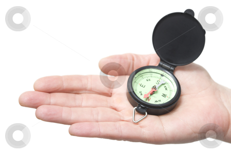 Compass on a hand stock photo, compass on a hand by ambrophoto