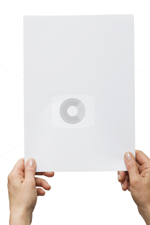 Hands holding a white sheet of paper stock photo, hands holding a white sheet of paper by ambrophoto
