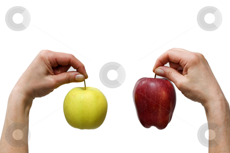 Hands holding a yellow and a red apple stock photo, hands holding a yellow and a red apple by ambrophoto