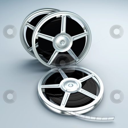 Film Reels stock photo, A couple of Film reels. 3D rendered Illustration. by Michael Osterrieder