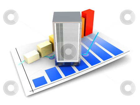 Server Statistics stock photo, Server and bandwidth statistics. 3D rendered Illustration. Isolated on white. by Michael Osterrieder