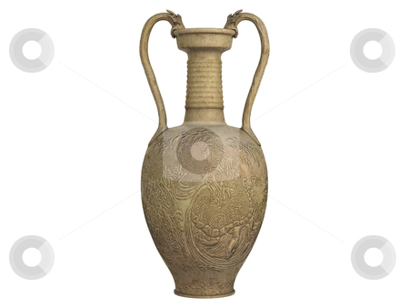 Asian vase stock photo, Asian vase  isolated on white background by Nmorozova