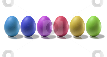 Colored eggs stock photo, Colored eggs on a white background with reflections on the basis by Tahoo