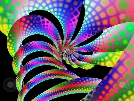Spotted Spiral stock photo, Computer generated abstract in a multi colored non uniform spiral design. by Colin Forrest