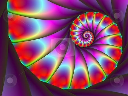 Spiral Tail stock photo, Computer generated image with a spiral design in purple blue and red colors. by Colin Forrest