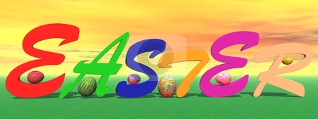 Colored easter stock photo, Six colored eggs all around easter letters in the grass and with orange sky by Elenarts