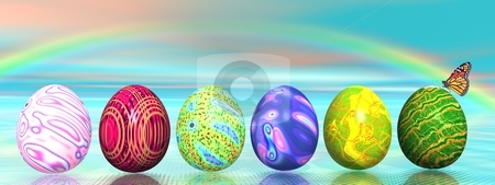 Easter colored eggs and rainbow stock photo, Six colored eggs for easter and a butterfly under a rainbow by Elenaphotos21