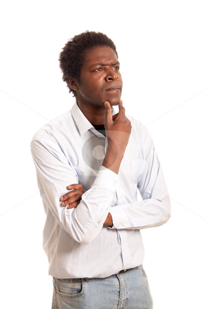 Thoughtful man stock photo, a young black man posing thoughtful scratching his chin by Jerax