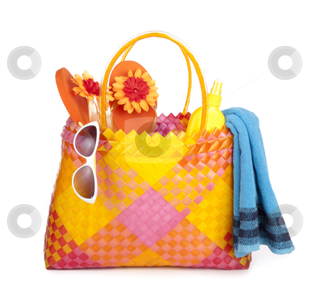Bag with beach items stock photo, colorful bag with beach items by twixx