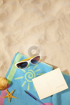 Beach concept with postcard stock photo, beach items  and a blank vintage postcard with copy-space by twixx