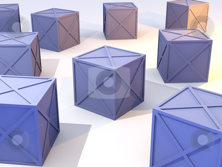 Blue Iron Boxes stock photo, 3D Illustration. Rough Iron Metal Boxes.  by Michael Osterrieder