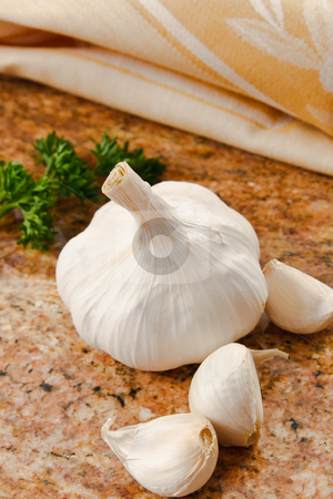 Fresh Garlic stock photo, Close up of whole garlic clove on a granite counter top by Karen Sarraga