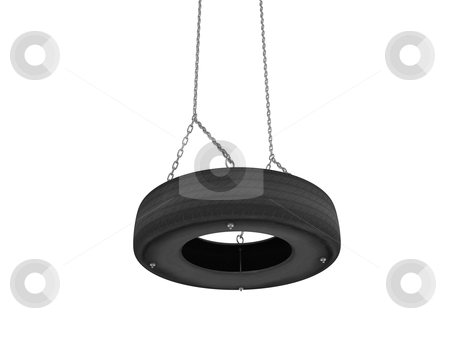 Tyre cover swing stock photo, Tire-swing on the chain isolated on white background by Nmorozova