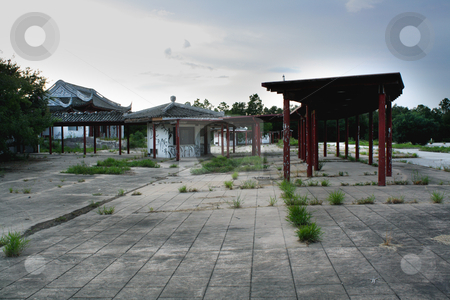 Florida Splendid China (1) stock photo, A failed tourist attraction, owned indirectly by the communist Chinese government, closed in 2003 and now lies in ruins. by Carl Stewart