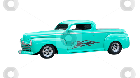 Mint green chopped hot-rod stock photo, custom, mint green chopped hot-rod isolated on white by Lee Barnwell