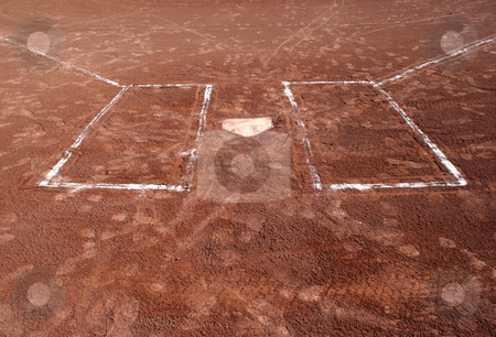 Step Up to Bat stock photo, A wide angle shot of empty batter's boxes and home plate. by Chris Hill