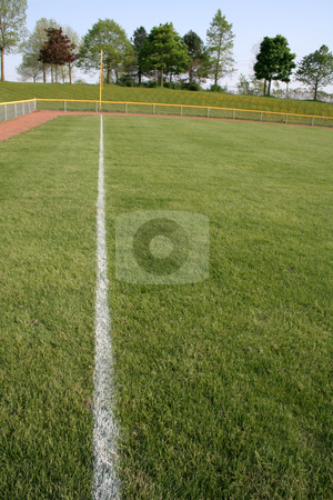 Left Field stock photo, A shot of left field on a baseball diamond. by Chris Hill