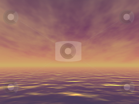 Evening ocean stock photo, Beautiful ocean with golden waves in the evening. 3d render illustration. by Edvard Molnar
