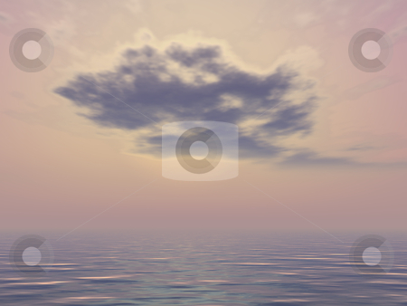 Big black cloud at sunset stock photo, Beautiful sunset and big black cloud. 3d render illustration. by Edvard Molnar