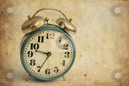 Old alarm clock stock photo, old and rusty alarm clock isolated on vintage background by Desislava Dimitrova