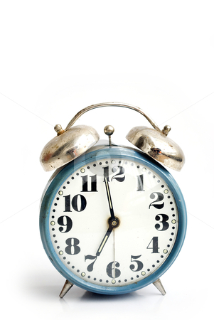 Old alarm clock stock photo, old and rusty alarm clock isolated on white by Desislava Dimitrova