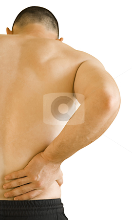 Backache stock photo, young man having backache making massage by Desislava Dimitrova