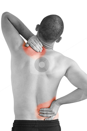 Pain stock photo, young man having neck ache and backache making massage by Desislava Dimitrova