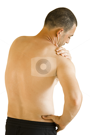 Shoulder ache stock photo, young man having neck and shoulder ache making massage by Desislava Dimitrova