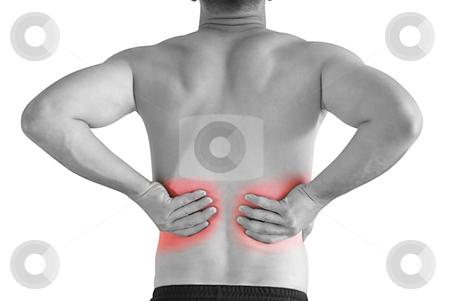Backache stock photo, young man having neck ache and backache making massage by Desislava Dimitrova