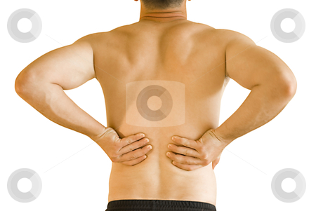 Backache stock photo, young man having neck ache and backache making massage by Desislava Dimitrova