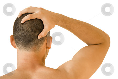 Headache stock photo, young man having headache making massage by Desislava Dimitrova