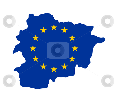 EU flag on Andorra map stock photo, European flag on mag of Andorra; isolated on white background. by Martin Crowdy