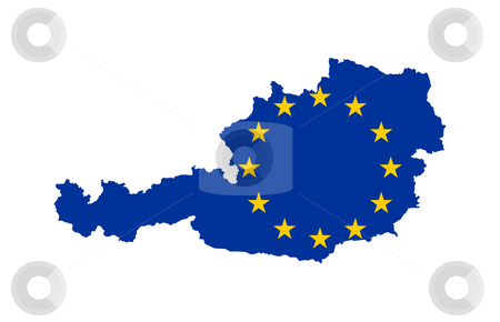 EU Flag on map of Austria stock photo, European flag on mag of Austria; isolated on white background. by Martin Crowdy