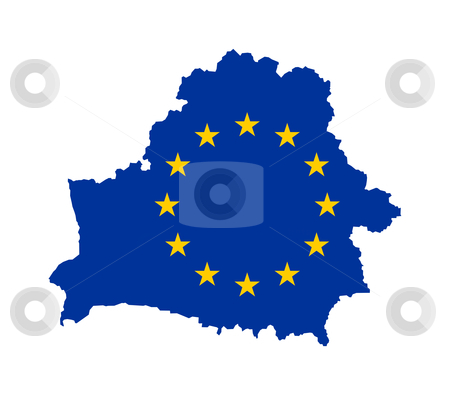 EU flag on Belarus map stock photo, European flag on mag of Belarus; isolated on white background. by Martin Crowdy
