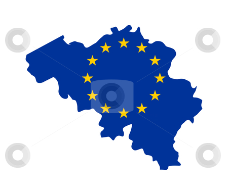 EU flag on map of Belgium stock photo, European flag on mag of Belgium; isolated on white background. by Martin Crowdy