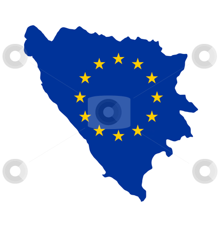 EU flag on map of Bosnia stock photo, European flag on mag of Bosnia; isolated on white background. by Martin Crowdy