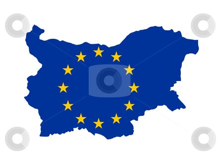 EU flag on Bulgaria map stock photo, European flag on mag of Bulgaria; isolated on white background. by Martin Crowdy