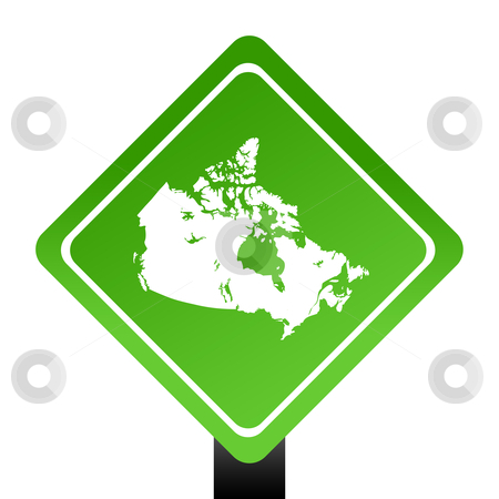 Map of Canada on green sign stock photo, Map of Canada on green sign; isolated on white background. by Martin Crowdy
